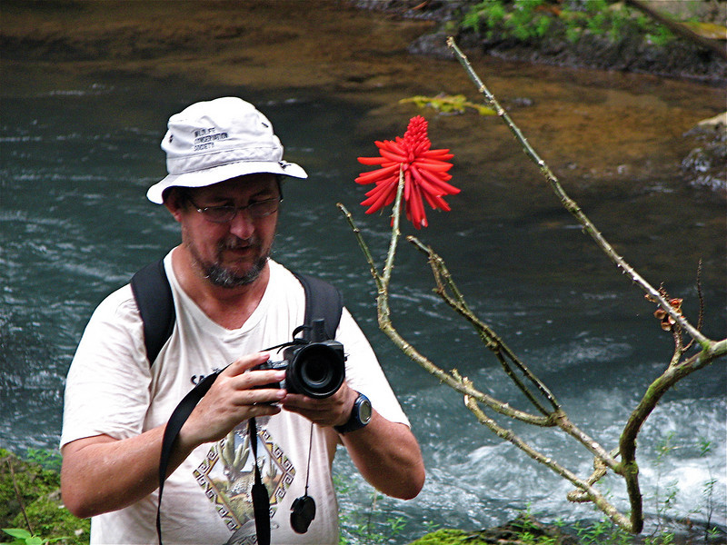 Eduardo Carrillo photographing the flower of an Erythrina shrub in Corcovado National Park, Costa Rica.  Typically Eduardo would be in the stream, so this is a somewhat rare photograph.